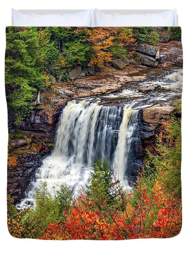 West Virginia Duvet Cover featuring the photograph Blackwater Falls by Steve Harrington