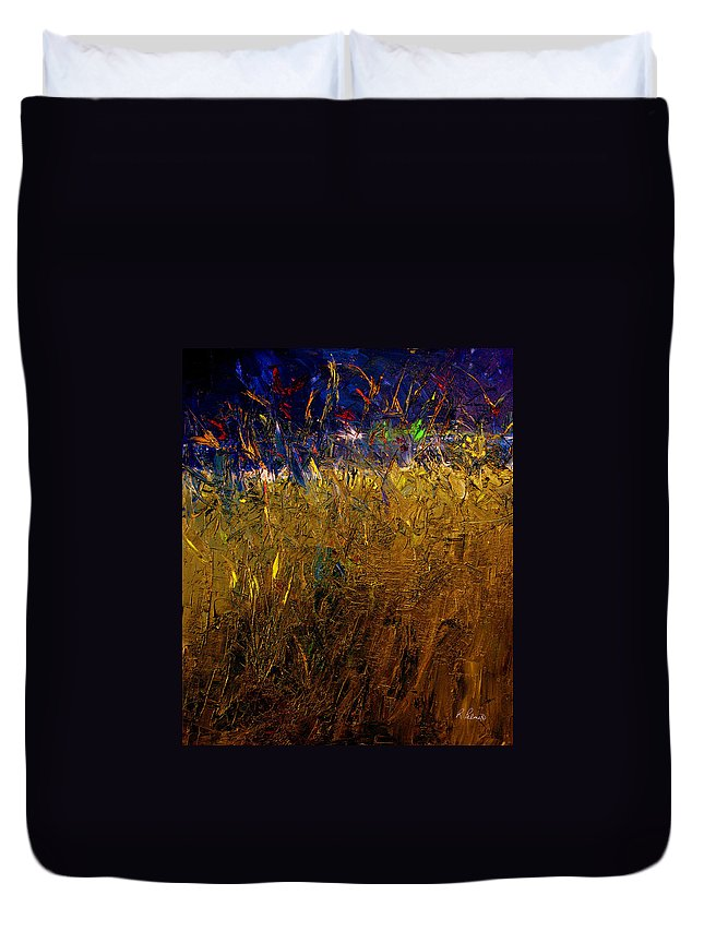 Abstract Duvet Cover featuring the painting Blades Of Grass by Ruth Palmer