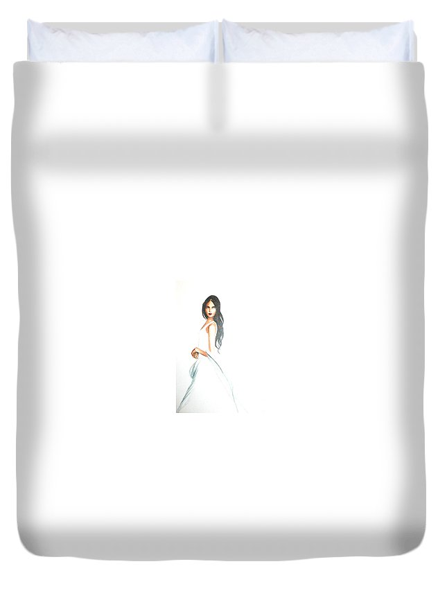Woman Duvet Cover featuring the drawing Blanca by MB Dallocchio
