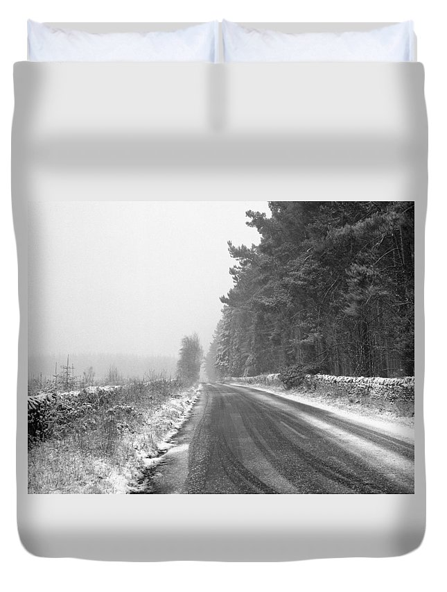 Duvet Cover featuring the photograph Blanchland Road In Winter, Slaley Woods by Iain Duncan