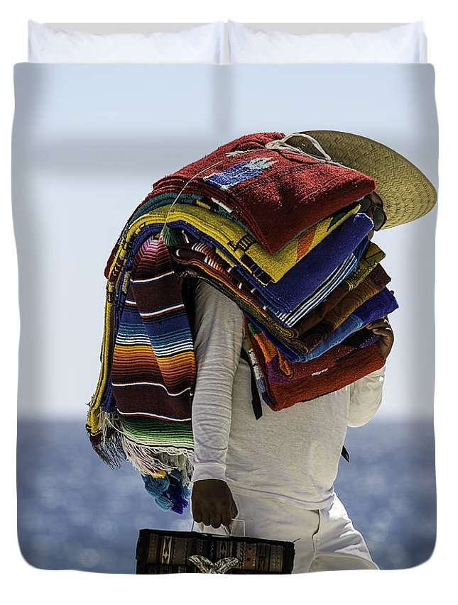 Mexico Duvet Cover featuring the photograph Blankets And Belts by Mark Harrington