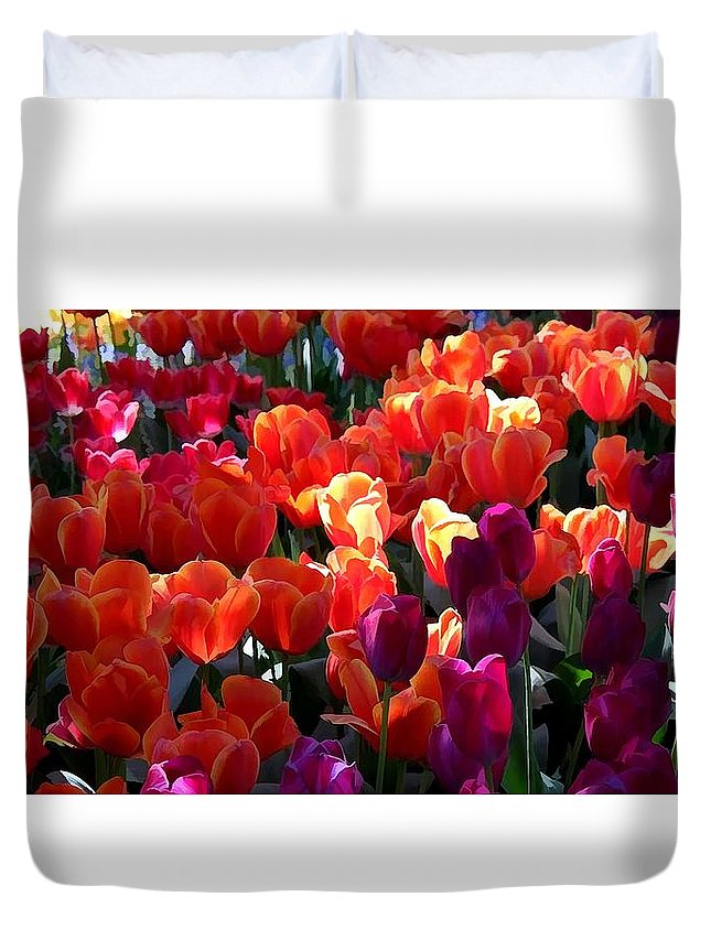 Blankets Of Tulips Duvet Cover featuring the painting Blankets Of Tulips by Jeelan Clark