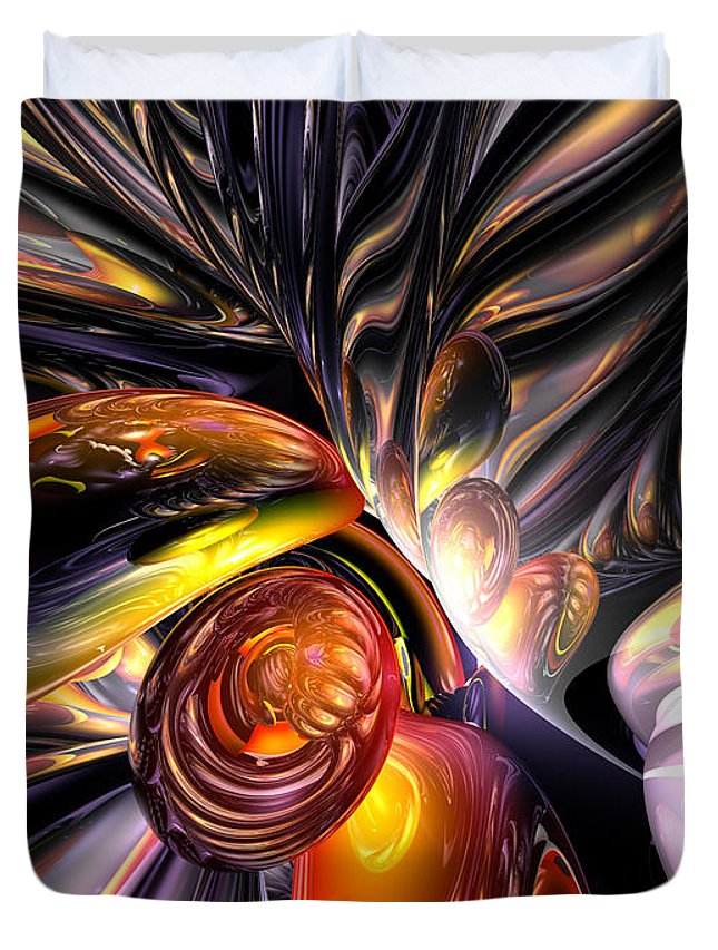 3d Duvet Cover featuring the digital art Blaze Abstract by Alexander Butler