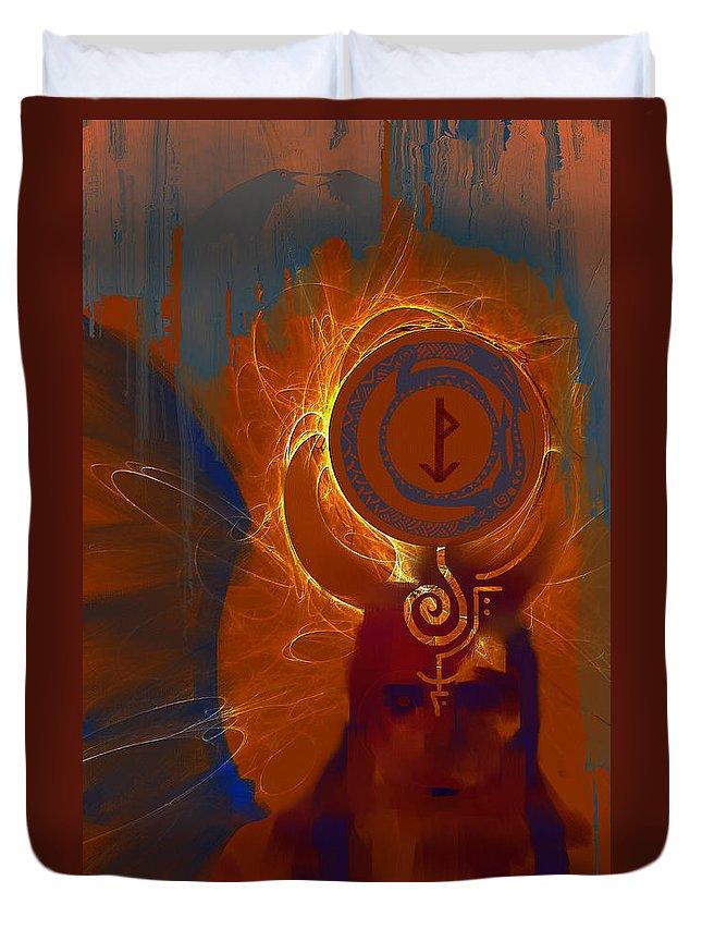 Spiritual Duvet Cover featuring the digital art Blazzing Wisdom Through Odins Essence by Stephen Lucas