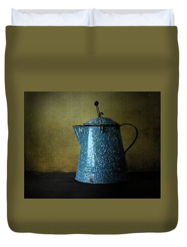 Antique Duvet Cover featuring the photograph Blue Enamelware Coffee Pot by David and Carol Kelly