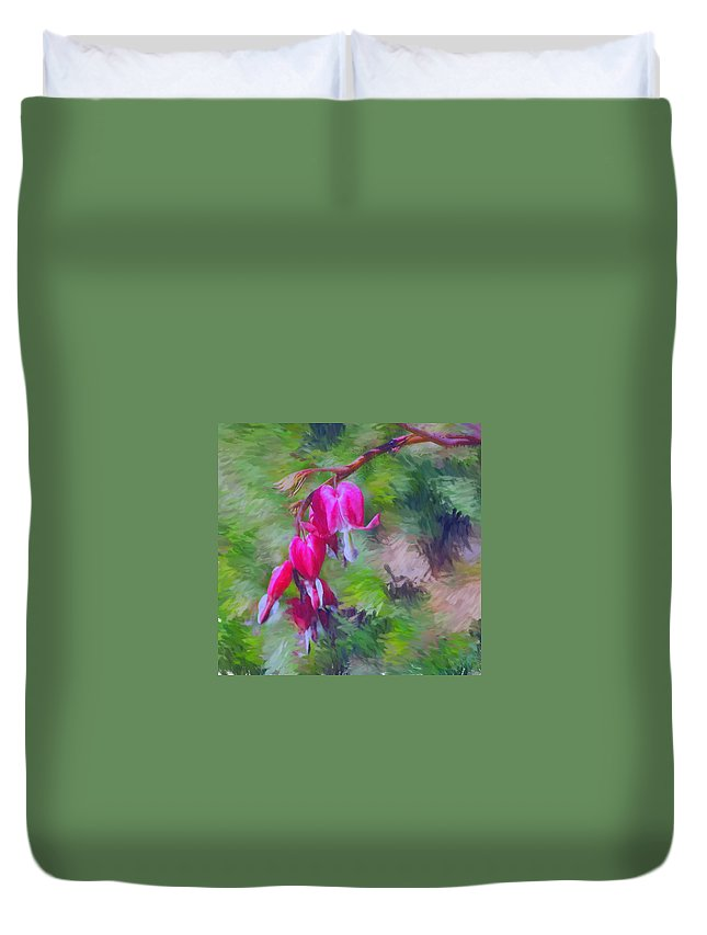 Daffodil Duvet Cover featuring the photograph Bleeding Heart by David Lane