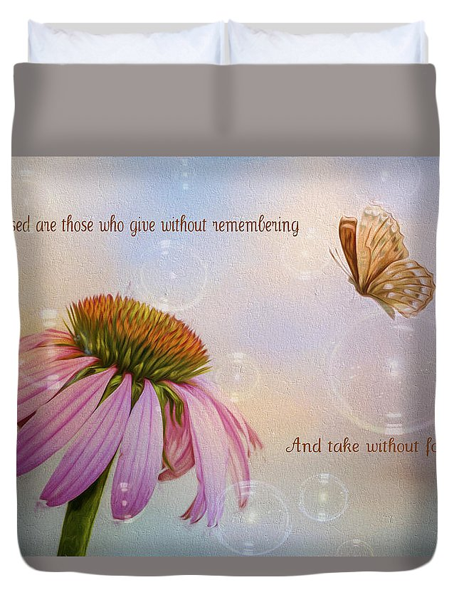 Coneflower Duvet Cover featuring the photograph Blessed by Cathy Kovarik