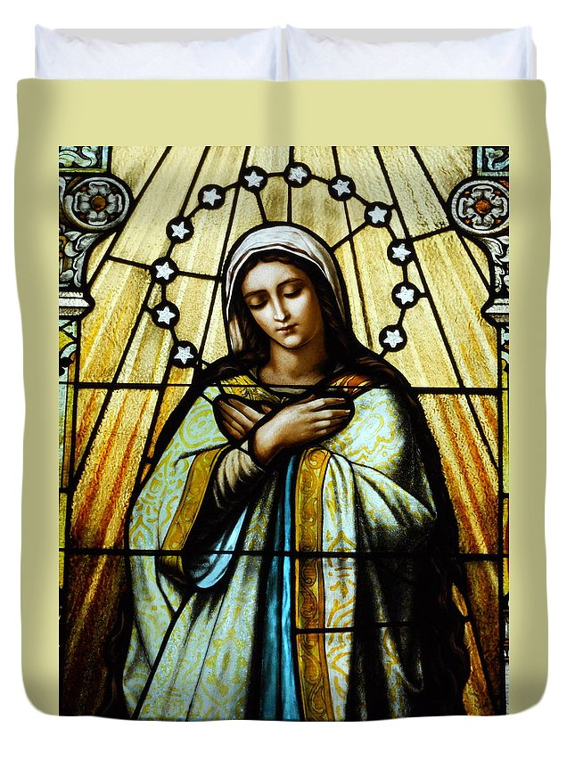 Mary Duvet Cover featuring the photograph Blessed Mother by M Catherine Kirkland