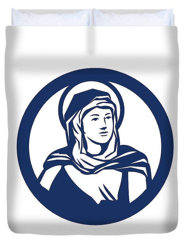 Blessed Virgin Mary Duvet Cover featuring the digital art Blessed Virgin Mary Circle Retro by Aloysius Patrimonio