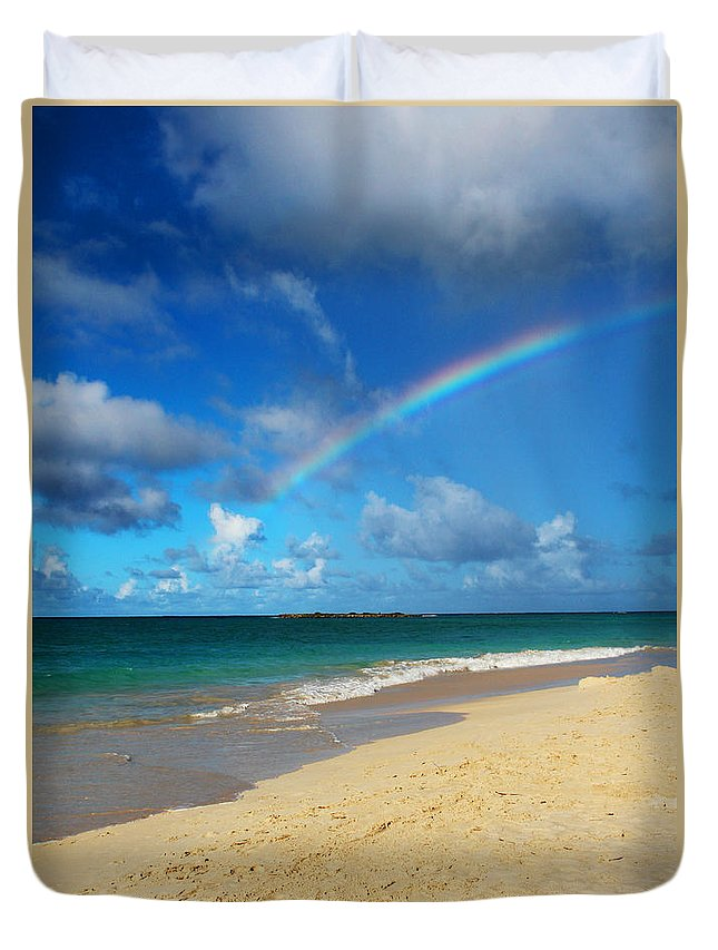 Rainbow Duvet Cover featuring the photograph Blessed With A Rainbow by Kerri Ligatich
