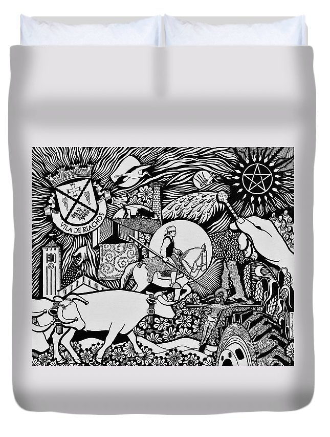 Drawing Duvet Cover featuring the painting Blessing The Cattle In Riachos by Jose Alberto Gomes Pereira