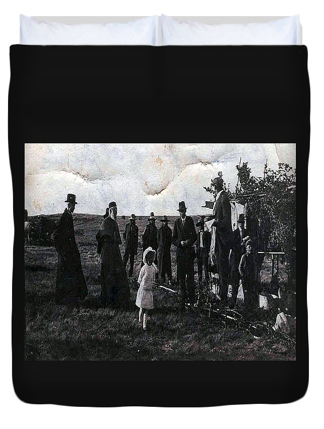 Old Fashioned Black And White Church Children Settlers Pioneers Ceremony Duvet Cover featuring the photograph Blessings And Dreams by Andrea Lawrence
