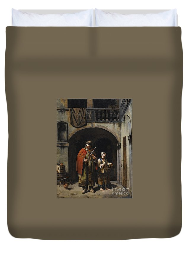 Jean-claude Bonnefond ; Blind Elderly With His Daughter Duvet Cover featuring the painting Blind Elderly With His Daughter by Celestial Images