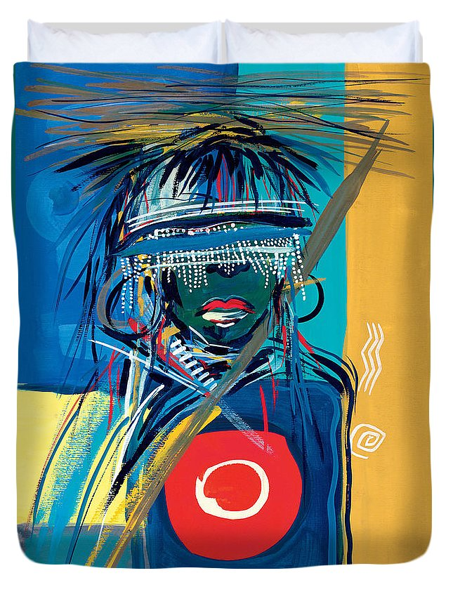 African Duvet Cover featuring the painting Blind To Culture by Oglafa Ebitari Perrin