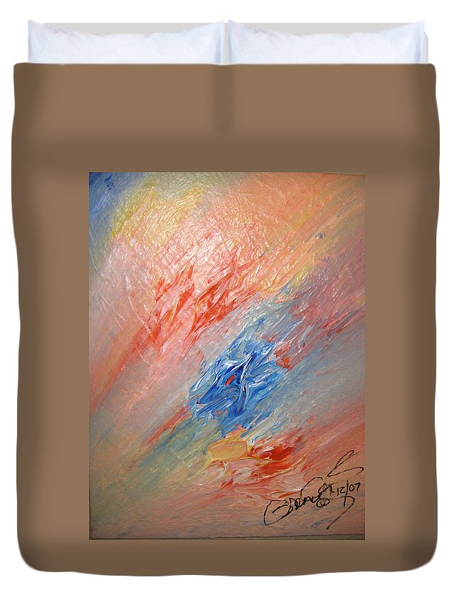 Abstract Duvet Cover featuring the painting Bliss - B by Brenda Basham Dothage