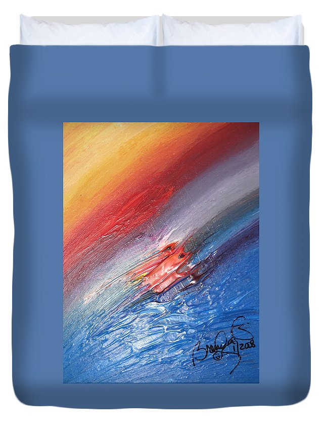 Abstract Duvet Cover featuring the painting Bliss - D by Brenda Basham Dothage