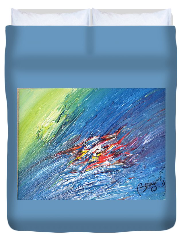 Abstract Duvet Cover featuring the painting Bliss - E by Brenda Basham Dothage
