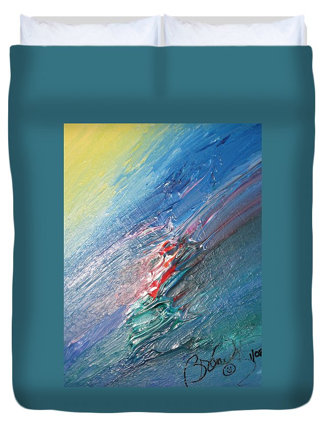 Abstract Duvet Cover featuring the painting Bliss - F by Brenda Basham Dothage
