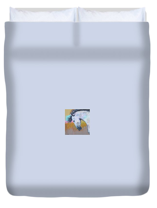 Horse Duvet Cover featuring the painting Blizzard by Terry Crump