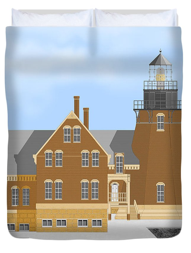 Lighthouse Duvet Cover featuring the painting Block Island South East Rhode Island In Full Color by Anne Norskog