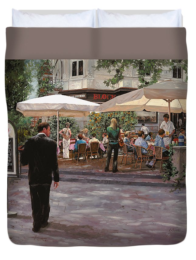 Blockhouse Duvet Cover featuring the painting Blockhouse by Guido Borelli