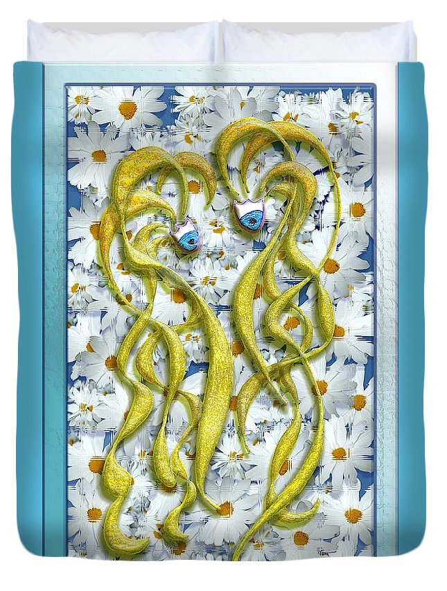 Flower Duvet Cover featuring the digital art Blonde Girl by Mark Sellers