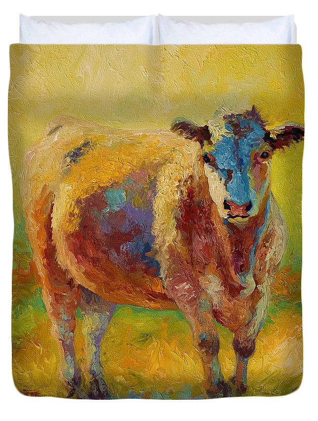 Western Duvet Cover featuring the painting Blondie - Cow by Marion Rose