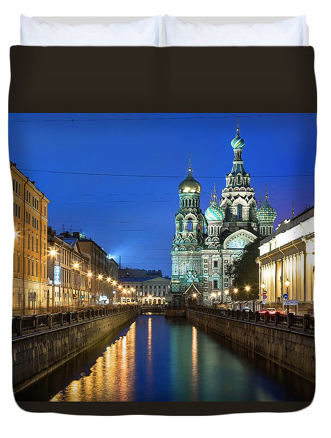 Blood Church Duvet Cover featuring the photograph Blood Church In Saint Petersburg In White Nights by Ronny Urban