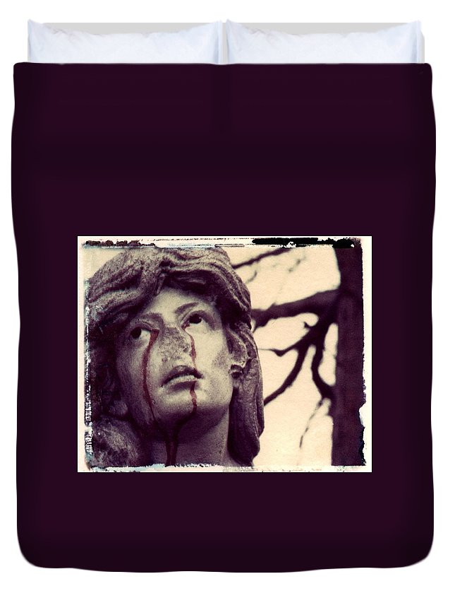 Polaroid Duvet Cover featuring the photograph Blood Is The New Black by Jane Linders