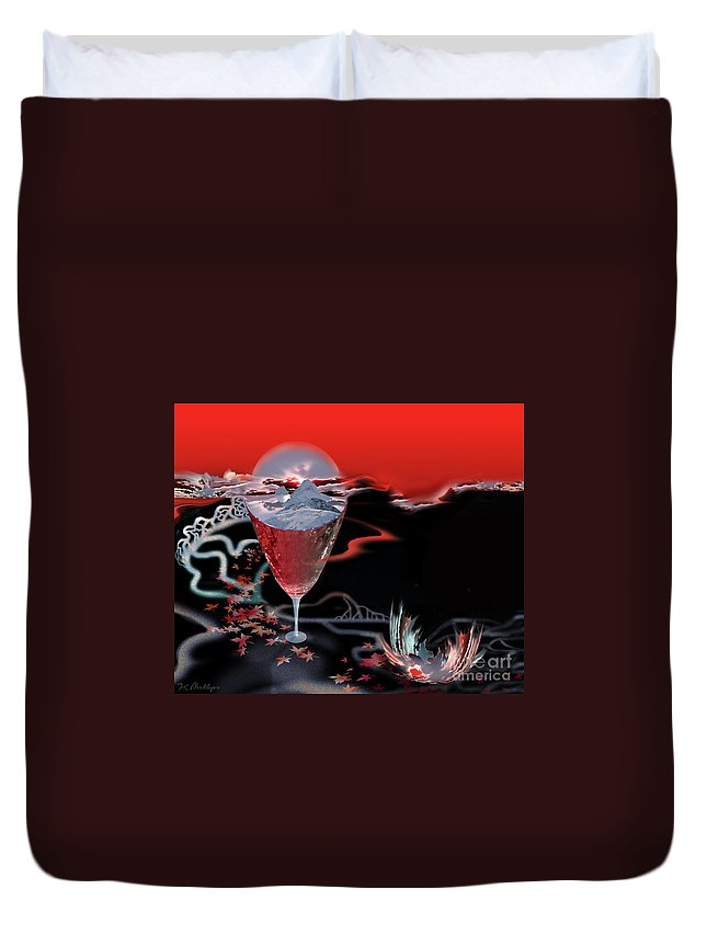 Blood Duvet Cover featuring the digital art Blood Red From Pure White by Jennifer Kathleen Phillips