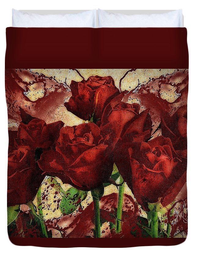 Blood Red Lust Duvet Cover featuring the mixed media Blood Red Lust by Georgiana Romanovna
