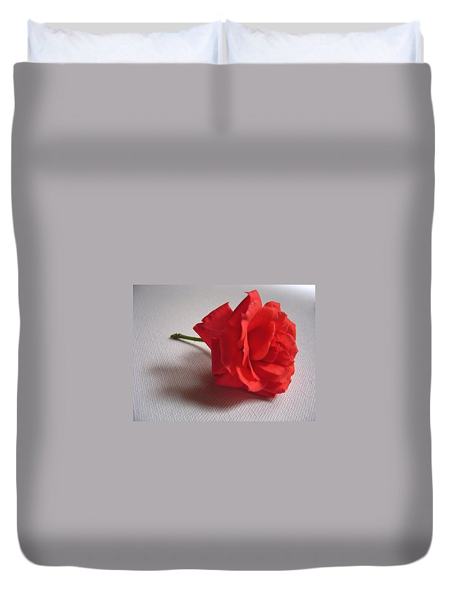 Blood Duvet Cover featuring the photograph Blood Red Rose by Usha Shantharam