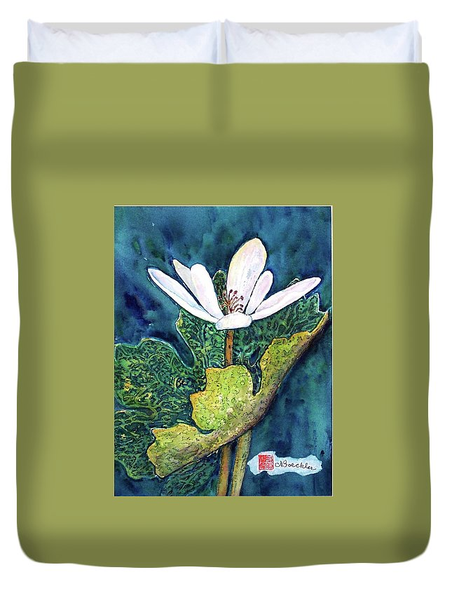 White Flower Duvet Cover featuring the painting Blood Root by Norma Boeckler