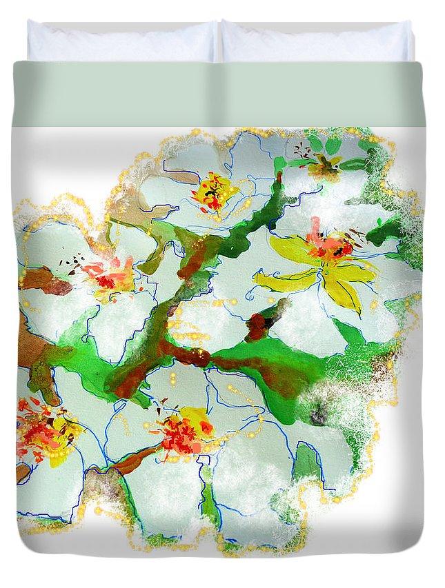 Spring Bloom Duvet Cover featuring the painting Bloom Euphoria by Larissa Pirogovski