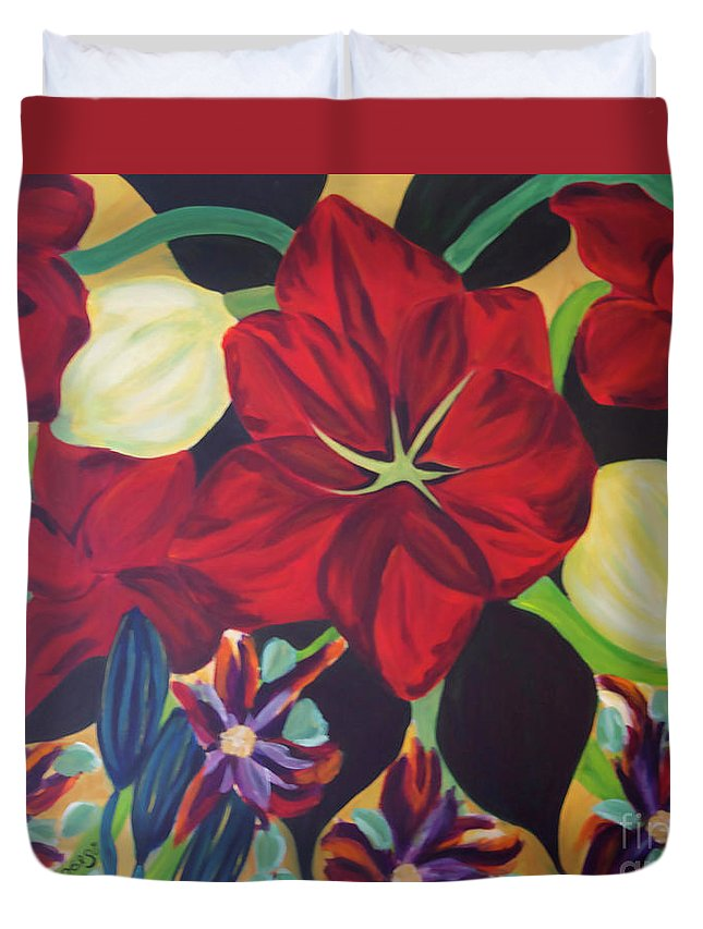 #flower Duvet Cover featuring the painting Bloom by Jacquelinemari