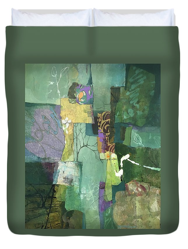 Tree Duvet Cover featuring the painting Bloom Where You're Planted by Susan Greenbaum
