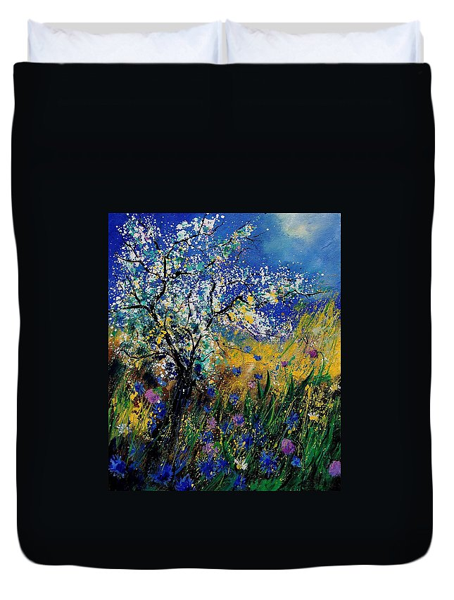 Spring Duvet Cover featuring the painting Blooming Appletree by Pol Ledent