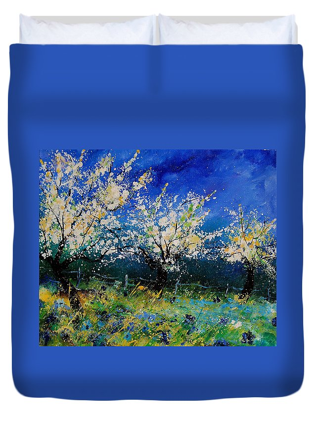 Landscape Duvet Cover featuring the painting Blooming Appletrees 56 by Pol Ledent