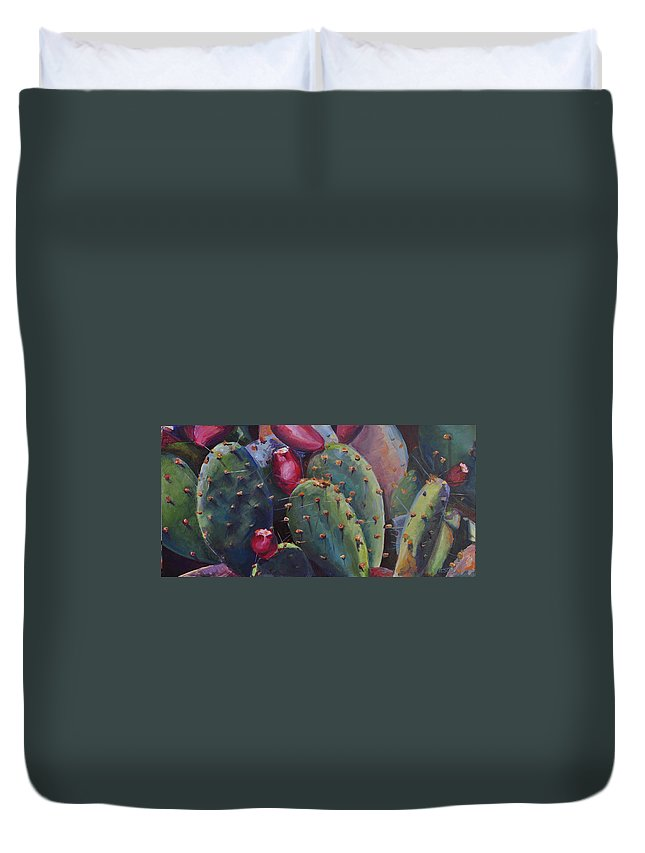 Cactus Duvet Cover featuring the painting Blooming Cacti by Marjory Wilson