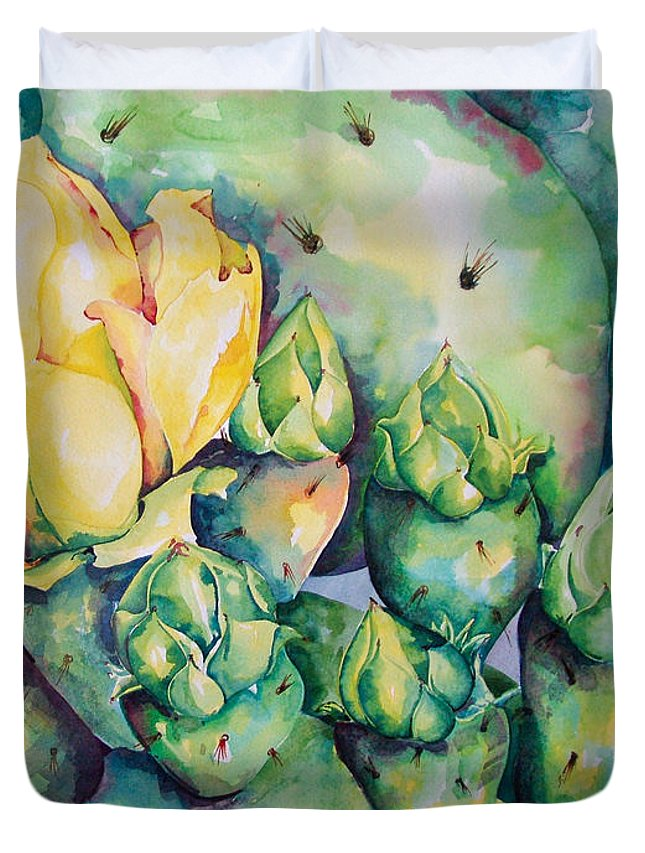 Desert Flowers Duvet Cover featuring the painting Blooming Cactus by Kandyce Waltensperger