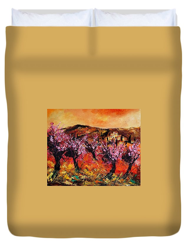 Provence Cherrytree Summer Spring Duvet Cover featuring the painting Blooming Cherry Trees by Pol Ledent