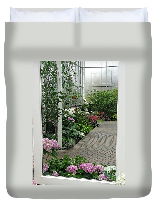 Conservatory Duvet Cover featuring the photograph Blooming Conservatory by Ann Horn