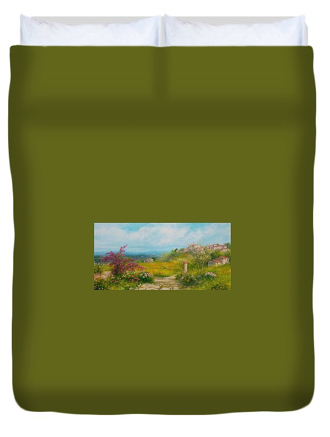 Flowers Duvet Cover featuring the painting Blooming Country Road - Italy by Antonietta Varallo