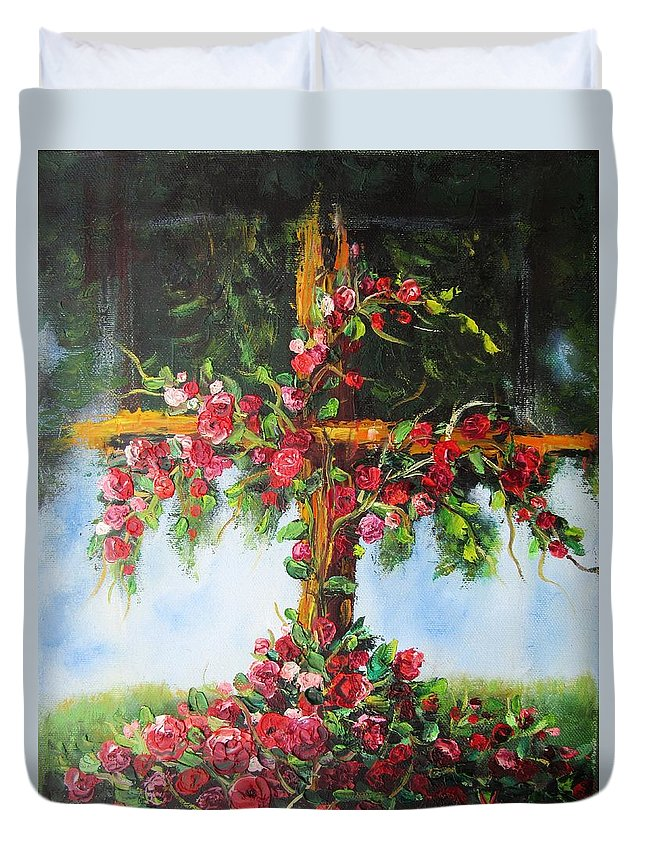Cross Duvet Cover featuring the painting Blooming Cross by Vesna Martinjak