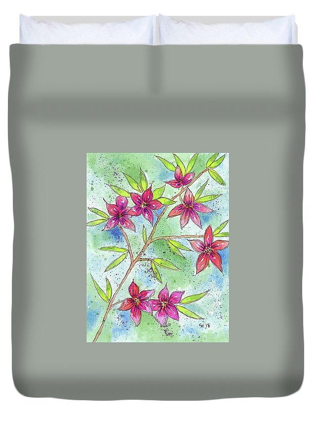Watercolor And Ink Duvet Cover featuring the painting Blooming Flowers by Susan Campbell