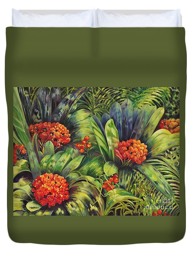 Flowers Duvet Cover featuring the painting Blooming Gorgeous by Caroline Street