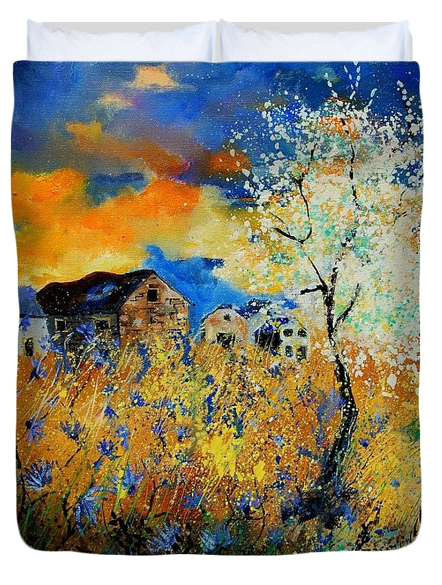 Poppies Duvet Cover featuring the painting Blooming Trees by Pol Ledent