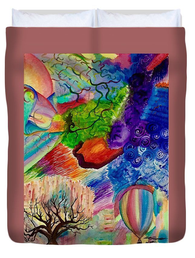 Abstract Duvet Cover featuring the painting Bloons by Evan DeHoff and Maddie McKinney