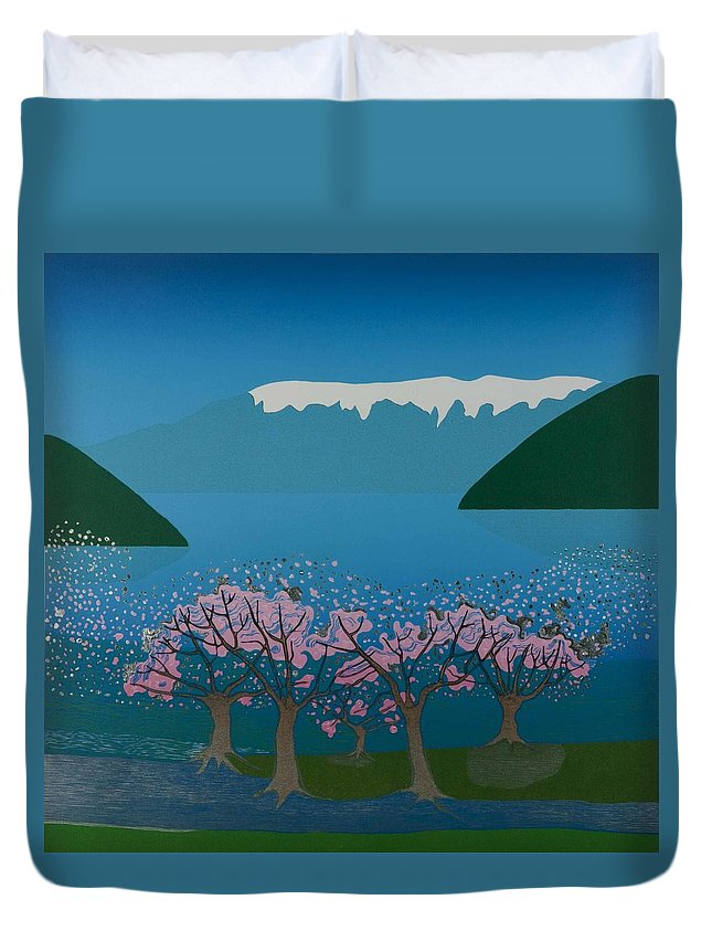 Landscape Duvet Cover featuring the mixed media Blossom In The Hardanger Fjord by Jarle Rosseland