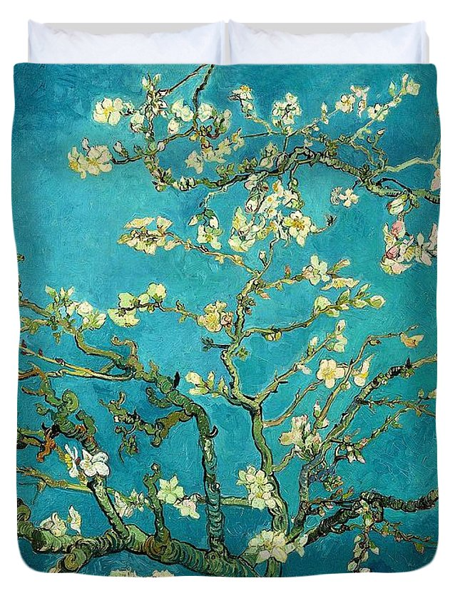 Van Gogh Duvet Cover featuring the painting Blossoming Almond Tree by Van Gogh